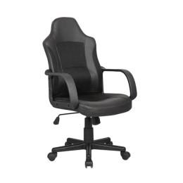 Lancaster πολυθρόνα γραφείου από pu σε μαύρο χρώμα  54x62xΥ98/107 εκ