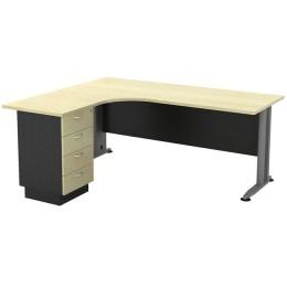 Superior Compact Γραφείο 180x70/150x60cm Αριστερή Γωνία/Dark Grey-Beech ΕΟ995L