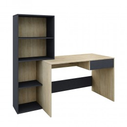 Twingo office with built-in library made of melamine in sonoma / grey color 160x60xH.145cm